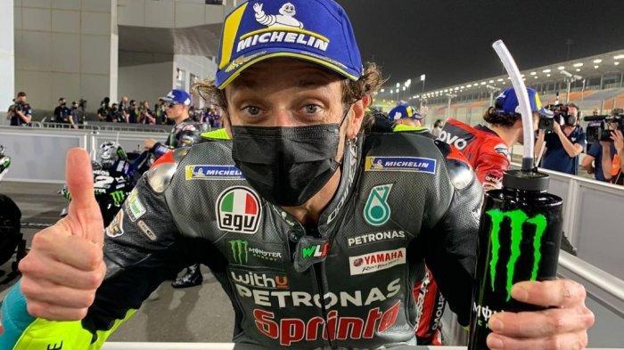Pembalap Petronas Yamaha SRT, Valentino Rossi setelah mengikuti sesi Kualifikasi MotoGP Qatar 2021 di Sirkuit Losail, Minggu (28/3/2021) dini hari WIB.