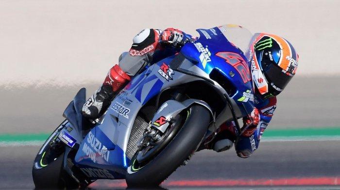Pembalap Spanyol Suzuki Ecstar, Alex Rins, berkendara selama balapan MotoGP dari Moto Grand Prix of Aragon di sirkuit Motorland di Alcaniz pada 18 Oktober 2020. JOSE JORDAN / AFP