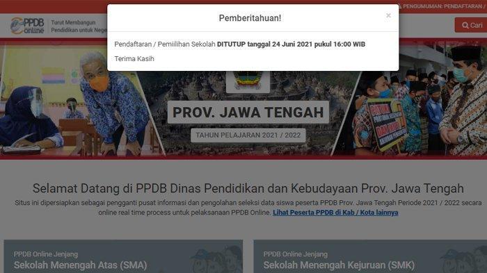Pemberitahuan penutupan PPDB Jateng 2021, Kamis (24/6/2021)