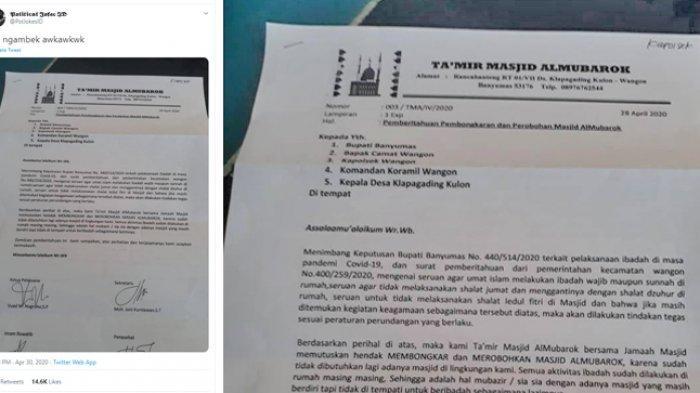 Surat pembongkaran dan perobohan Masjid Almubaroka