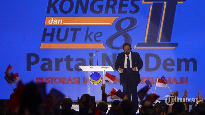 Ketua Umum Partai Nasdem Surya Paloh usai memberikan arahan saat menghadiri Kongres II dan Hut ke-8 Partai Nasdem di Jakarta, Jumat (8/11/2019). Kongres II Partai Nasdem tersebut mengambil tema 'Restorasi Untuk Indonesia Maju'. TRIBUNNEWS/IRWAN RISMAWAN