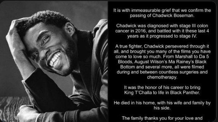 Pemeran Black Panther, Chadwick Boseman dikanarkan meninggal dunia dalam usia 43 tahun karena kanker.