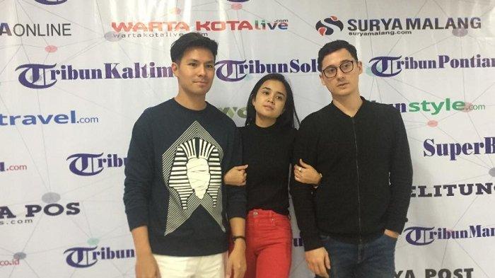 Fero Waralandouw, Michelle Ziudith, dan Nino Fernandez saat menyambangi redaksi Tribunnews, Rabu (25/4/2018)
