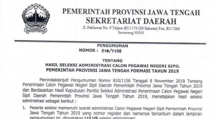 Pemprov Jateng Rilis Nama Peserta Lolos Seleksi Administrasi CPNS 2019, Adakah Nama Anda?
