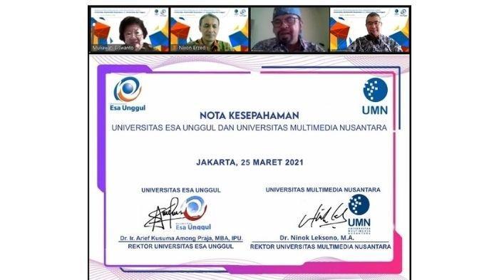 Penandatanganan MoU antara Universitas Multimedia Nusantara dengan Universitas Esa Unggul