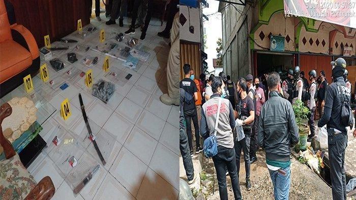 Suasana penangkapan terduga teroris di Sungai Pinyuh Kabupaten Mempawah, Kalimantan Barat, Jumat (5/6/2020). Polisi juga mengamankan sejumlah barang bukti.