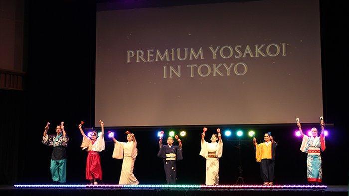 Penampilan penari Yosakoi Jepang dan warga asing dalam persahabatan antar negara tampil di panggung Yosakoi Premium,Minggu (4/7/2021).