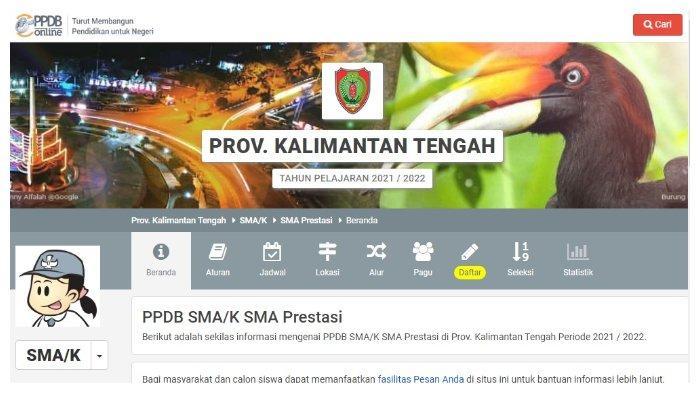 Pendaftaran PPDB Kalteng 2021.