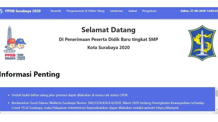 Pendaftaran PPDB Surabaya 2020 Jalur Zonasi di ppdb.surabaya.go.id.
