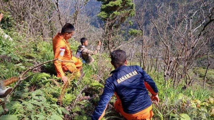Tim Basarnas dan tim gabungan melakukan pencarian pendaki asal Jambi yang hilang di Gunung Dempo, Pagaralam, Sumatera Selatan. (Humas Basarnas Palembang)