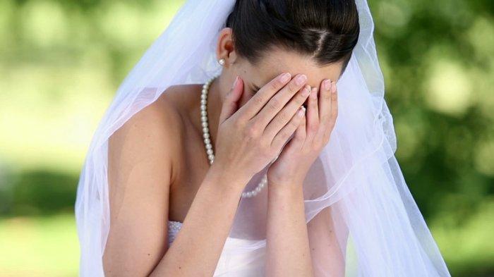Ilustrasi pengantin wanita menangis di hari pernikahannya