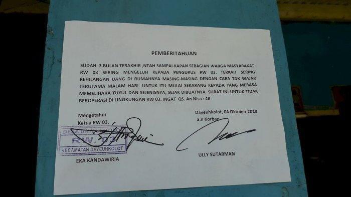 Uang Warga Sering Raib Misterius, Warga Dayeuhkolot Bandung Beri Ancam Pemelihara Tuyul