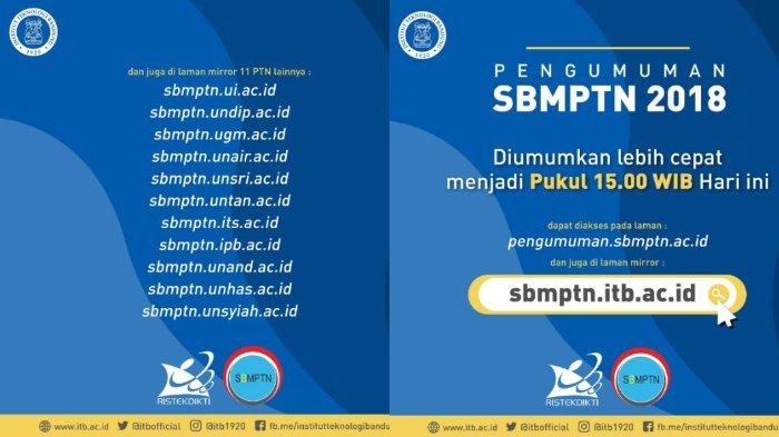 12 Link Situs Web Pengumuman Hasil SBMPTN 2018 Tiap Universitas, UI, IPB, ITB, UGM, dan Lainnya