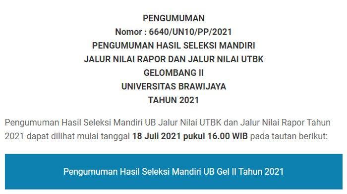 AKSES selma.ub.ac.id untuk Cek Pengumuman Jalur Seleksi Mandiri Universitas Brawijaya Malang