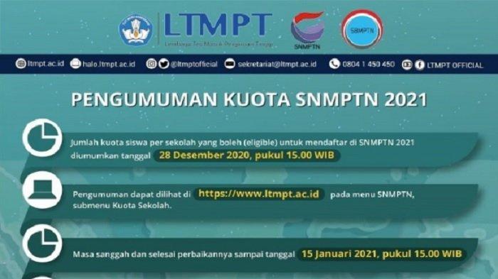 Cek Kuota SNMPTN 2021 di www.ltmpt.ac.id, Siswa Kelas 12 Harus Punya Akun LTMPT, Ini Syaratnya