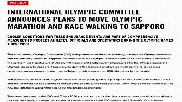 Pengumuman Komite Olimpiade Internasional, Rabu (16/10/2019) memindahkan Maraton ke Sapporo.