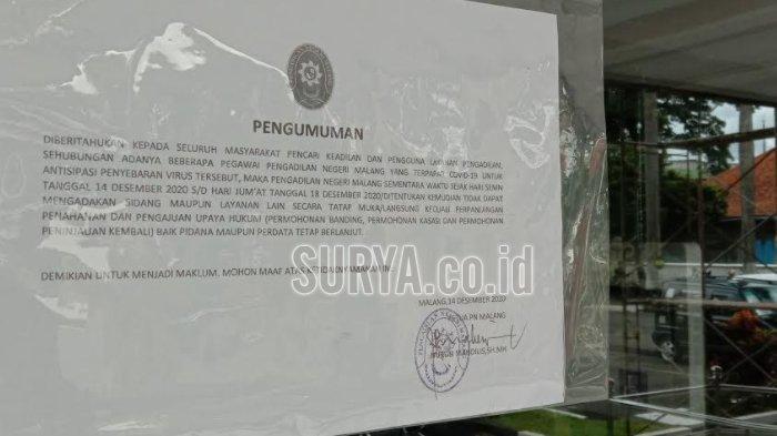 Pengadilan Negeri Kota Malang Ditutup Sementara, 20 Pegawainya Tertular Covid-19