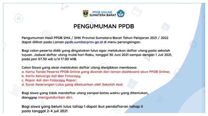Pendaftaran PPDB SMA/SMK Sumbar 2021 Tahap 2 Dibuka 2 Juli 2021, Cek Syarat dan Jadwalnya