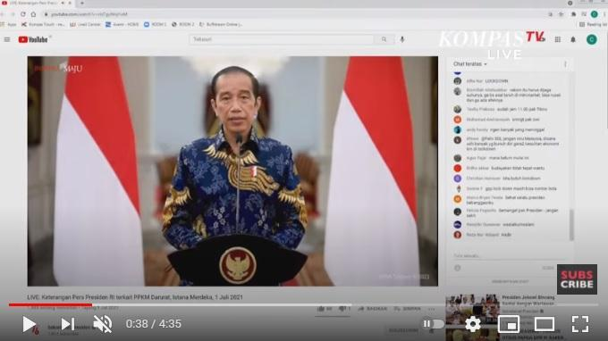 Pengumuman pemberlakukan PPM Darurat oleh Presiden Jokowi di Istana Negara, Kamis (1/7/2021).