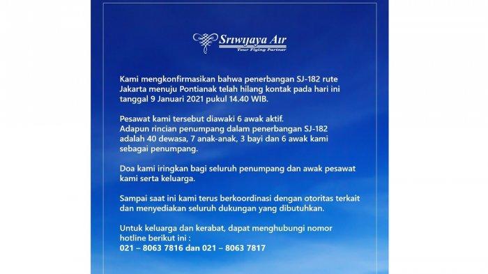 Penjelasan resmi Sriwijaya Air soal jatuhnya pesawat Sriwijaya Air SJ 182, Sabtu (9/1/2021)