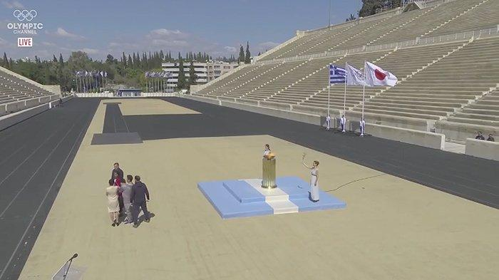 Penyerahan Obor Olimpiade dari IOC ke penyelenggara Olimpiade ke Jepang, Kamis (19/3/2020) di Yunani.