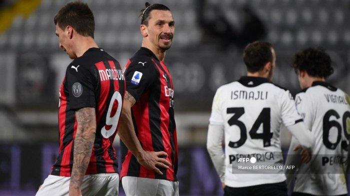 HASIL Liga Italia - AC Milan Menderita Lawan Spezia, Ibrahimovic Gagal Ukir Rekor