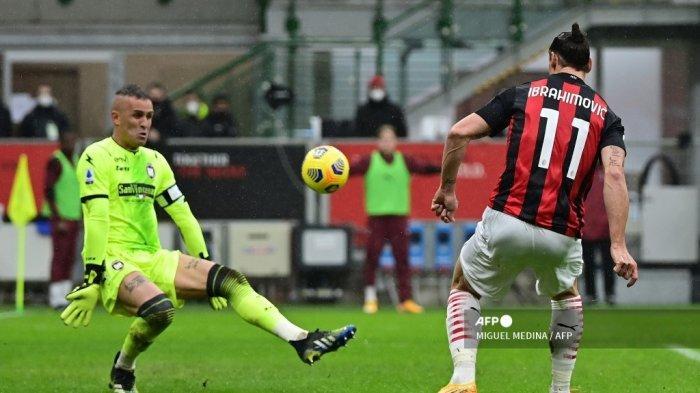Hasil Babak Pertama AC Milan vs Crotone Liga Italia: Ibrahimovic Cetak Gol, Rossoneri Unggul Tipis