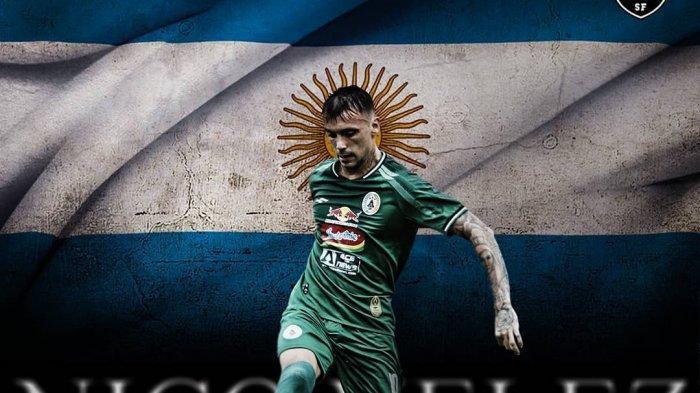 Penyerang anyar PS Sleman, Nico Velez yang diikutsertakan dalam gelaran turnamen pramusim Piala Menpora 2021.