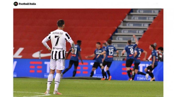 Penyerang Juventus, Cristiano Ronaldo terdiam menyaksikan tim lawan berselebrasi. CR7 dilaporkan sudah bersih-bersih loker di runag ganti Juventus. Dia dikabarkan segera pindah ke Manchester City.