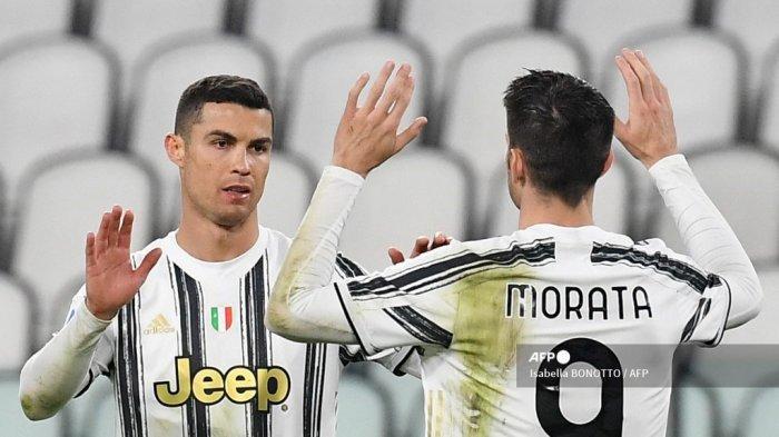 Penyerang Portugal Juventus Cristiano Ronaldo merayakan setelah mencetak gol ketiga selama pertandingan sepak bola Serie A Italia Juventus vs Spezia pada 02 Maret 2021 di stadion Juventus di Turin. Isabella BONOTTO / AFP