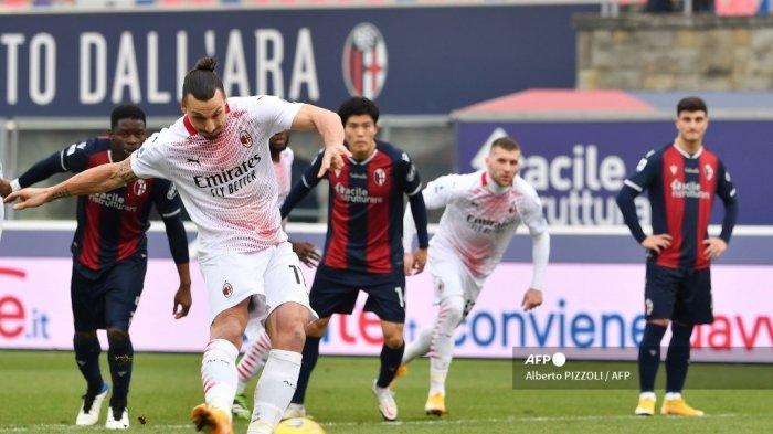 Bologna Vs AC Milan, Rossoneri Cetak Sejarah di Babak Pertama, Zlatan Ibrahimovic Gagal Penalti