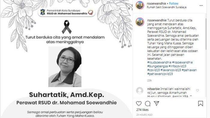 Perawat Meninggal di Surabaya karena Covid-19, Riwayat Penyakit hingga Jalani Rapid Test 2 Kali