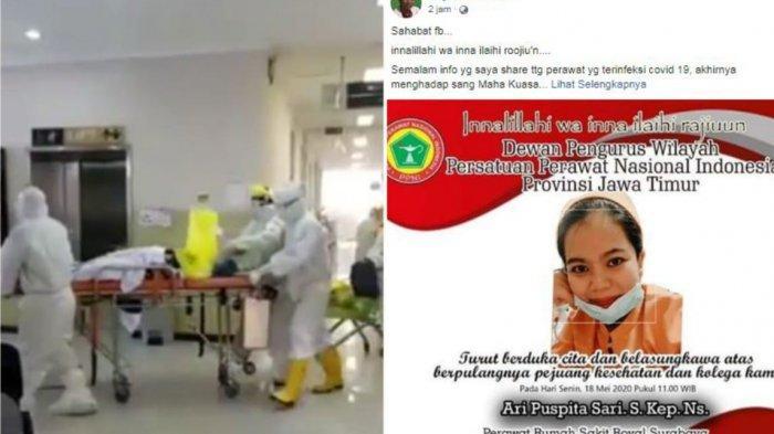 Perawat RS Royal Surabaya meninggal (18/5/2020) (Instagram @ndorobeii / Facebook Bayou Prakoso)