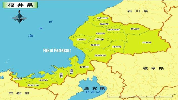 Perfektur Fukui di Laut Jepang dekat Kyoto Gifu dan Ishikawa.