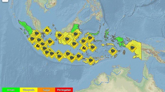 BMKG: Peringatan Dini Cuaca Ekstrem Jumat 21 Februari 2020: 14 Wilayah Hujan Lebat Disertai Petir