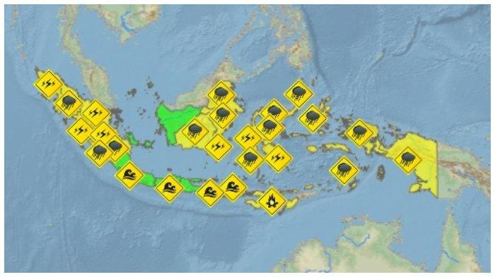 Peringatan Dini Cuaca Ekstrem BMKG Senin, 3 Agustus 2020: 13 Wilayah Hujan Lebat, Petir hingga Angin
