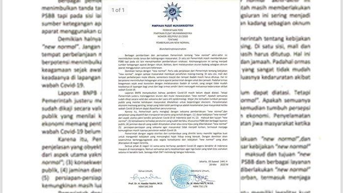 Pernyataan pers PP Muhammadiyah tentang new normal