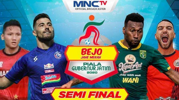 Persebaya Surabaya, Madura United, Persija Jakarta, dan Arema FC akan saling berebut tiket untuk tampil di final Piala Gubernur Jatim 2020.