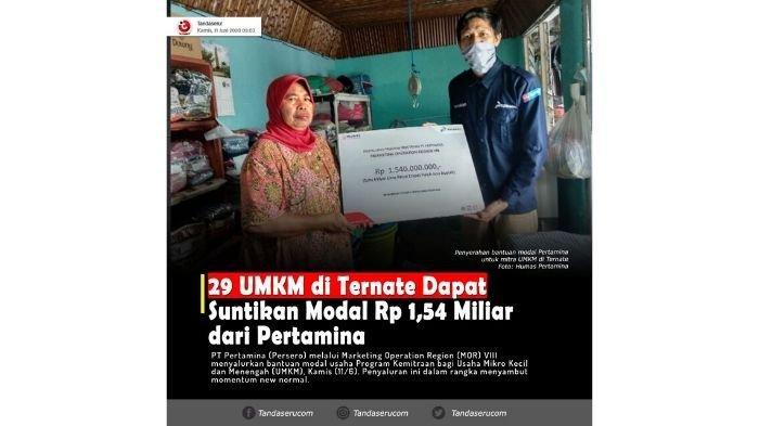 New Normal, Pertamina Salurkan Rp 1,54 M Modal UMKM di Maluku Utara