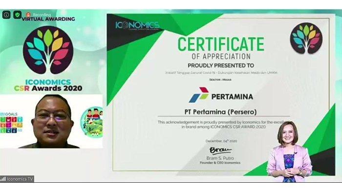 Aktif Terlibat Penanggulangan Covid-19, Pertamina Raih Iconomics CSR Award 2020