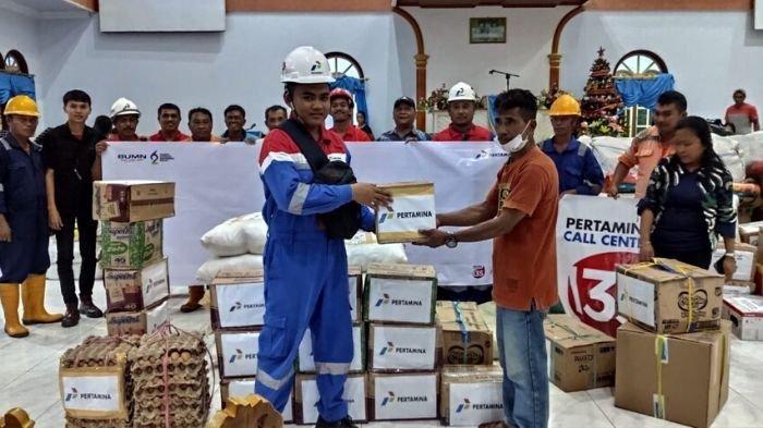 Pertamina Peduli Beri Bantuan Korban Bencana Banjir dan Longsor di Kabupaten Kepulauan Sangihe