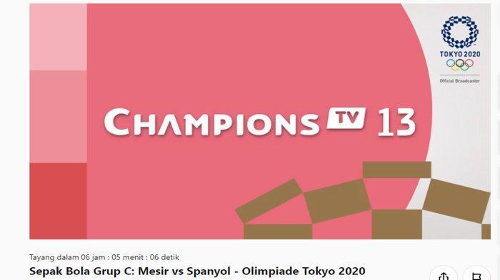 Live Streaming Mesir vs Spanyol, Olimpiade Tokyo 2021 - Tonton Gratis di Vidio.com Lewat HP