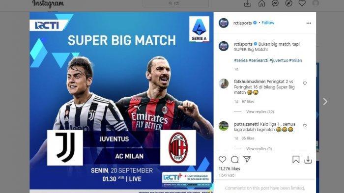 Pertandingan sarat gengsi pekan keempat Liga Italia antara Juventus vs AC Milan akan berlangsung di Stadion Allianz, Senin (20/9/2021) pukul 01.45 WIB, live RCTI.