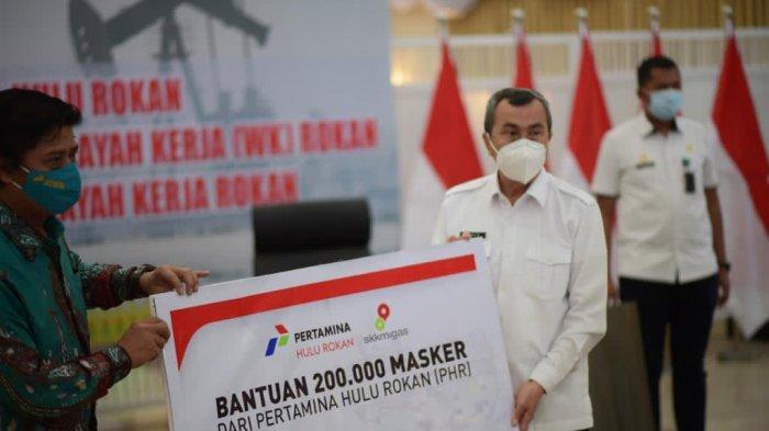 Bertemu Jajaran Pemerintah Riau, Direktur Pertamina Hulu Rokan Beri Bantuan 200 Ribu Masker
