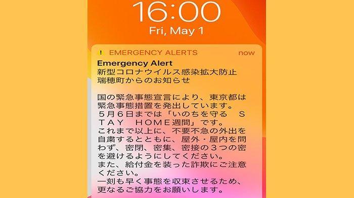 Pesan mengingatkan dari Pemda Tokyo, Jumat (1/5/2020) diterima seorang warga Indonesia yang ada di Jepang karena ke luar rumah menggunakan mobil.