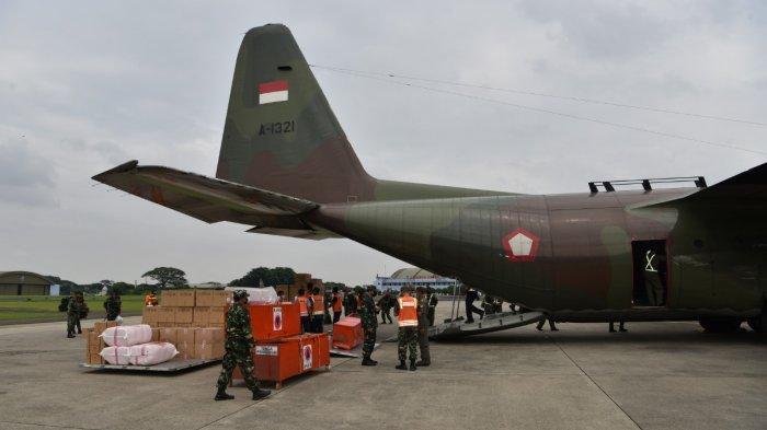 Pesawat TNI AU Angkut 12 Ton Bantuan dari Lanud Haluoleo Kendari ke Mamuju dan Majene