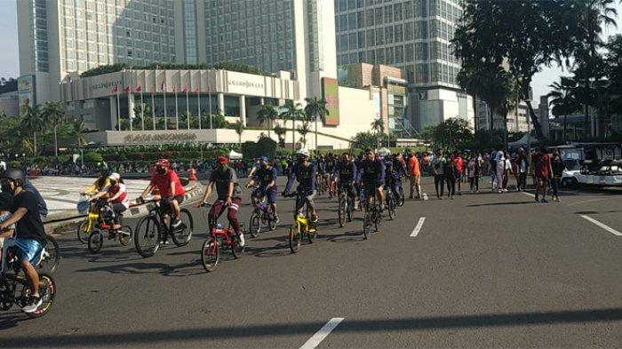 Saat pelaksanaan Car Free Day (CFD) Minggu (21/6/2020) pagi, jumlah pengguna sepeda lebih banyak ketimbang mereka yang berolahraga dengan jalan kaki.