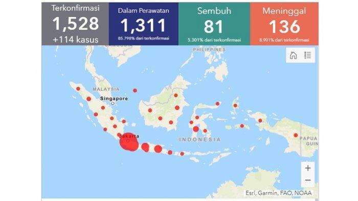 Diumumkan Pertama 2 Maret 2020, Ini Rekap Kasus Corona di Indonesia Sepanjang Maret, 1.528 Positif