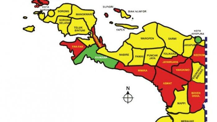 Peta daerah Papua. Buku Tematik tema 8 kelas 4 SD.