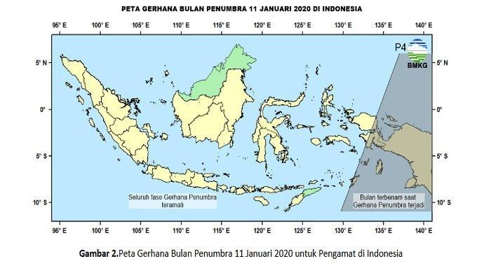 Peta Gerhana Bulan Penumbra 11 Januari 2020 di Indonesia